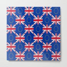 Mix of flag: UE and UK Metal Print