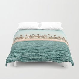 Vintage Newport Beach Print {1 of 4} | Photography Ocean Palm Trees Teal Tropical Summer Sky Duvet Cover