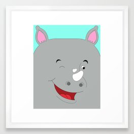 Rhino Male in Love Looking to the Right Framed Art Print