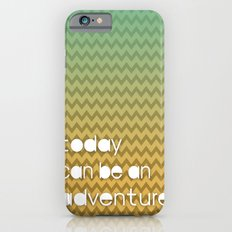 Today Can Be An Adventure Poster Teal Yellow Chevron iPhone 6s Slim Case