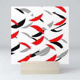 black white red grey abstract minimal pattern Mini Art Print