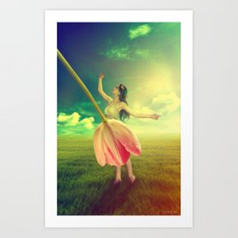 The Girl With the Flower Dress  Art Print