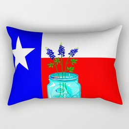 A Texas Flag and Blue Bonnets in a Jar Rectangular Pillow