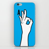 kim sy ok iPhone & iPod Skins featuring OK by MCKIBILLO