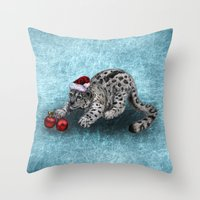 snow leopard Throw Pillows featuring Snow Leopard by Anna Shell