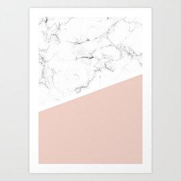 White Marble Pale Dogwood Art Print