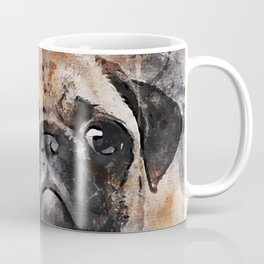Pug Puppy Using Watercolor On Raw Canvas Coffee Mug