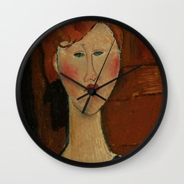 """Amedeo Modigliani """"Femme aux cheveux rouge (Woman with Red Hair)"""" Wall Clock"""