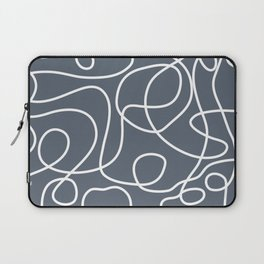 Doodle Line Art | White Lines on Dark Blue-Gray Background Laptop Sleeve