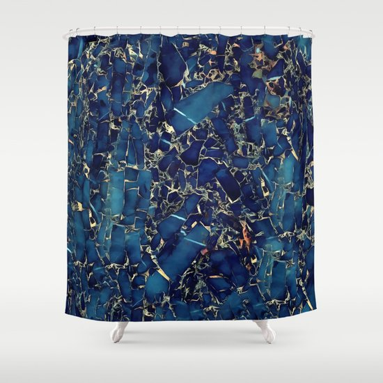Dark Blue Stone Marble Abstract Texture With Gold Streaks Shower Curtain By Catyarte Society6