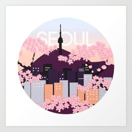 Seoul Tower with Cherry Blossoms Woodblock Style Souvenir Print Art Print