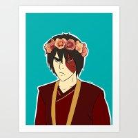 zuko Art Prints featuring FlowerCrown Zuko by Sakizm