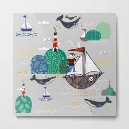 Pirates Ahoy Grey Metal Print