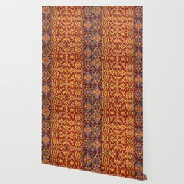 Arabic Rug I // 17th Century Rich Bright Colorful Red Yellow Indigo Blue Ornate Accent Pattern Wallpaper