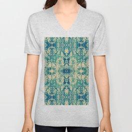 Vintage Blue Turquoise Floral Damask Pattern Unisex V-Neck