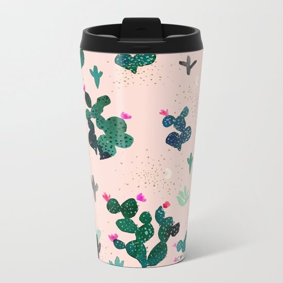 Pink Dusk Moon Cactus Metal Travel Mug