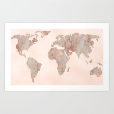 Rosegold Marble Map of the World Art Print