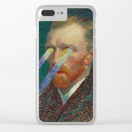 Star in Your Eyes-Vincent Van Gogh Starry Night and Self Portrait Clear iPhone Case