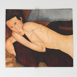 """Amedeo Modigliani """"Reclining Nude from the Back (Nu couché de dos)"""" Throw Blanket"""