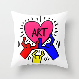 """Keith Haring inspired """"I Love Art"""" Primary Colors edition Throw Pillow"""