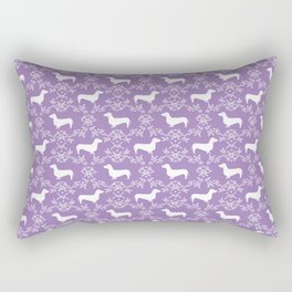 Dachshund purple florals pet portrait dog art dachsie doxie pet art dog breeds Rectangular Pillow