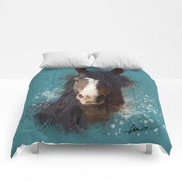 Black Brown Horse Artwork Comforters
