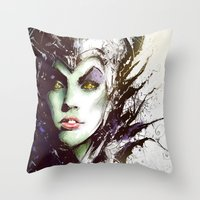 maleficent Throw Pillows featuring Maleficent by Vincent Vernacatola