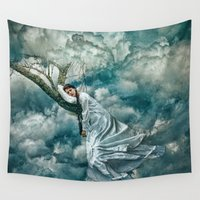 sleep Wall Tapestries featuring Sleep by Spoken in Red