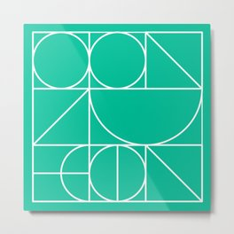 Modern Geometric 77 Green Metal Print