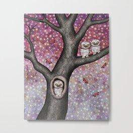 enchanted owls, moths, stars Metal Print