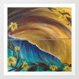 Turquoise Wave and Hibiscus Art Print
