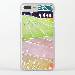 Fox on the meadow Clear iPhone Case
