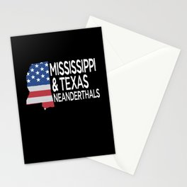 Mississippi and Texas Neanderthals American Flag Stationery Cards