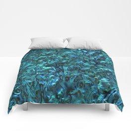 Abalone Shell | Paua Shell | Cyan Blue Tint Comforters