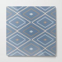 Navajo Pattern - Denim / Nude Metal Print