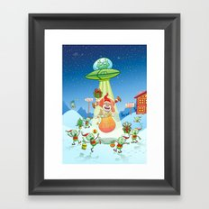 Santa Claus Abducted by a UFO just before Christmas Framed Art Print