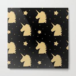 cute gold unicorn silhouette on black background Metal Print