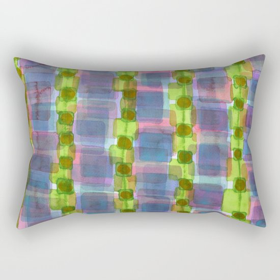 Purple Square Rows with Fluorescent Green Strips Rectangular Pillow