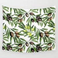 vegetarian Wall Tapestries featuring Olive by Julia Badeeva