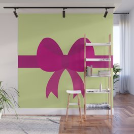 Pink Bow on Soft Green Wall Mural