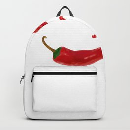 Two red chilies on white Backpack
