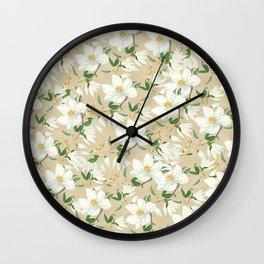 Magnolia in Bloom Pattern Wall Clock
