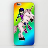roller derby iPhone & iPod Skins featuring Roller Derby Unicorn by RonkyTonk