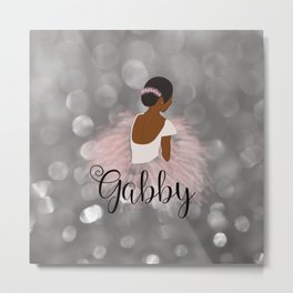 African American Ballerina Dancer Personalized Nam GABBY Metal Print