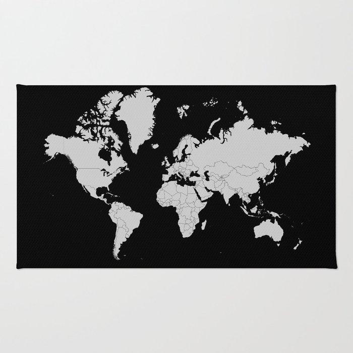 Minimalist world map gray on black background rug by constantchaos minimalist world map gray on black background rug gumiabroncs Images