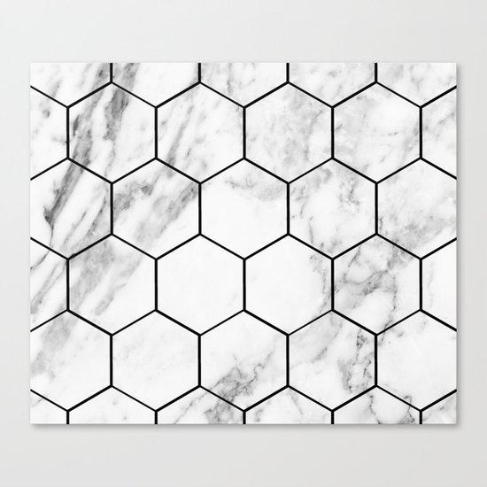 Marble hexagonal tiles - geometric beehive Canvas Print