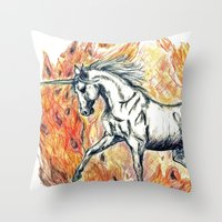 unicorn Throw Pillows featuring Unicorn by Stephanie Stonato