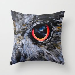Sight: The Eyes of an Eagle Owl Throw Pillow