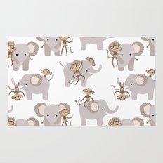 Monkey and elephant Rug