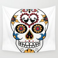mexican Wall Tapestries featuring Mexican Sugar Skull by Gwladys R.